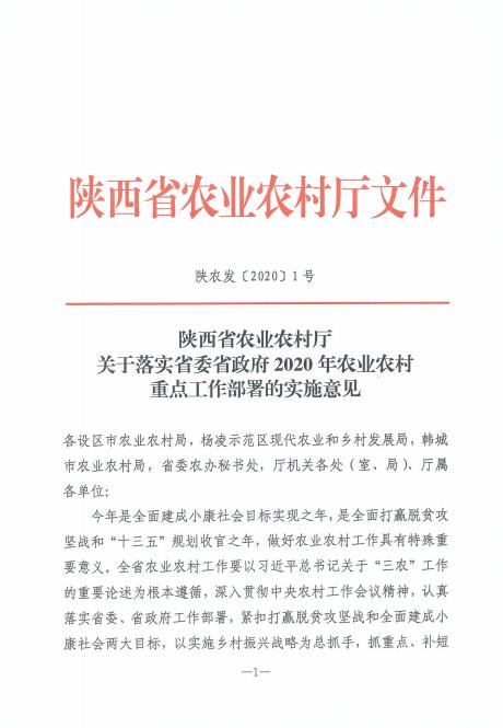 陕西省农业农村厅文件