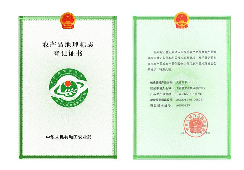 大荔冬枣农产品地理标志登记证书