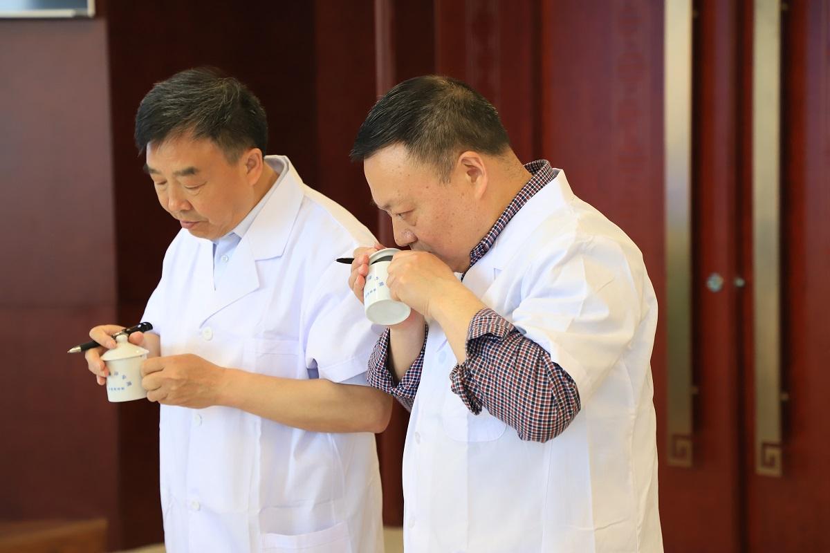 5月16日,陕茶专家对参评茶叶盲评评审现场